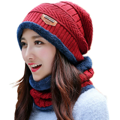 Winter Beanie Hats For Women Wool Knit Hat Fleece Hat And Neck Warmer Set Ski Face Mask Cap Ladies Skullies Beanies Thicken Cap