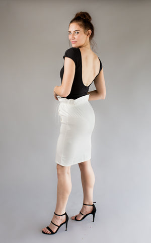 white high waisted skirt