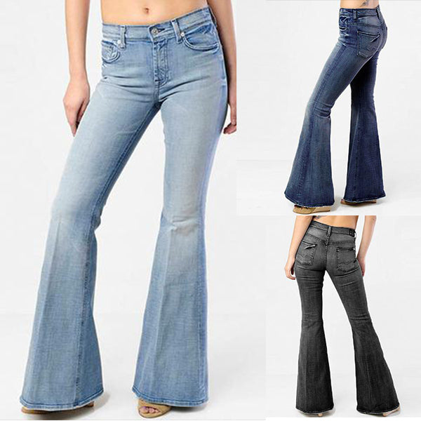 70s Hip Hugger Stretchy Bell Bottom Jeans