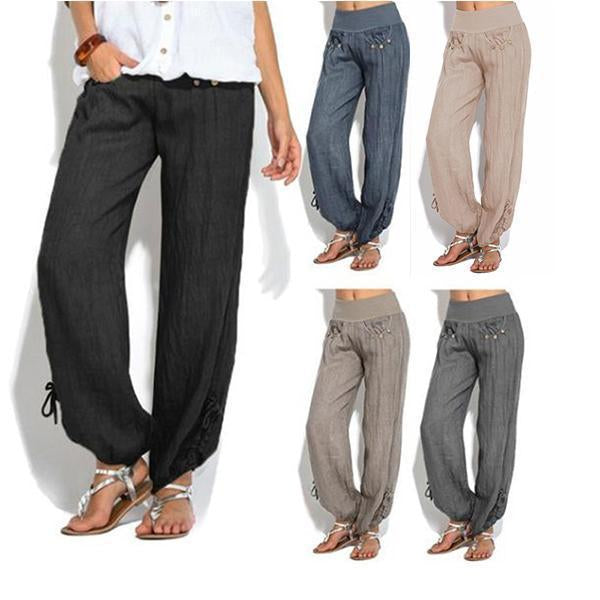Linen Casual Loose Mid Waist Bloomers