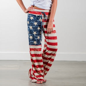 Casual Loose American Flag Striped Drawstring Palazzo Pants