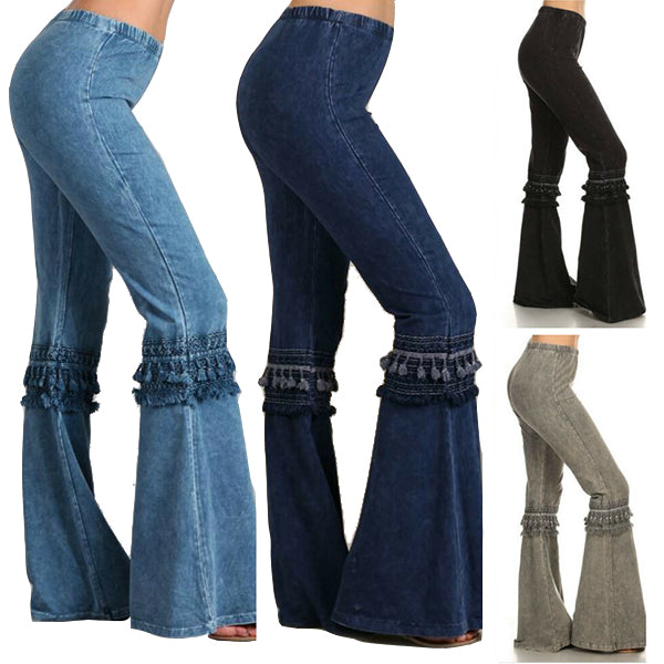 Denim Fringe Effect Boho Hippie Bell Bottom