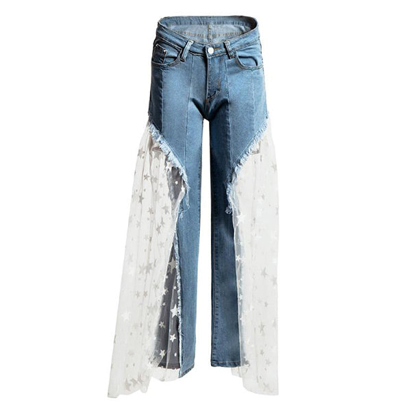 High Waist Star Sequins Organic-cotton Denim Pants