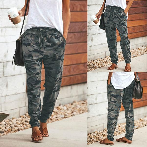 Drawstring Camouflage Slim Casual Pants