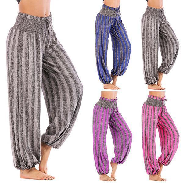 Stretchy Simple Striped Yoga Daily Loose Casual Pants