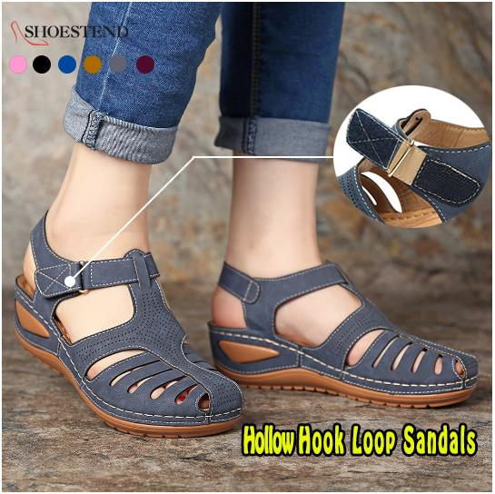 Women Comfortable Hook Loop Wedges Walking Sandals