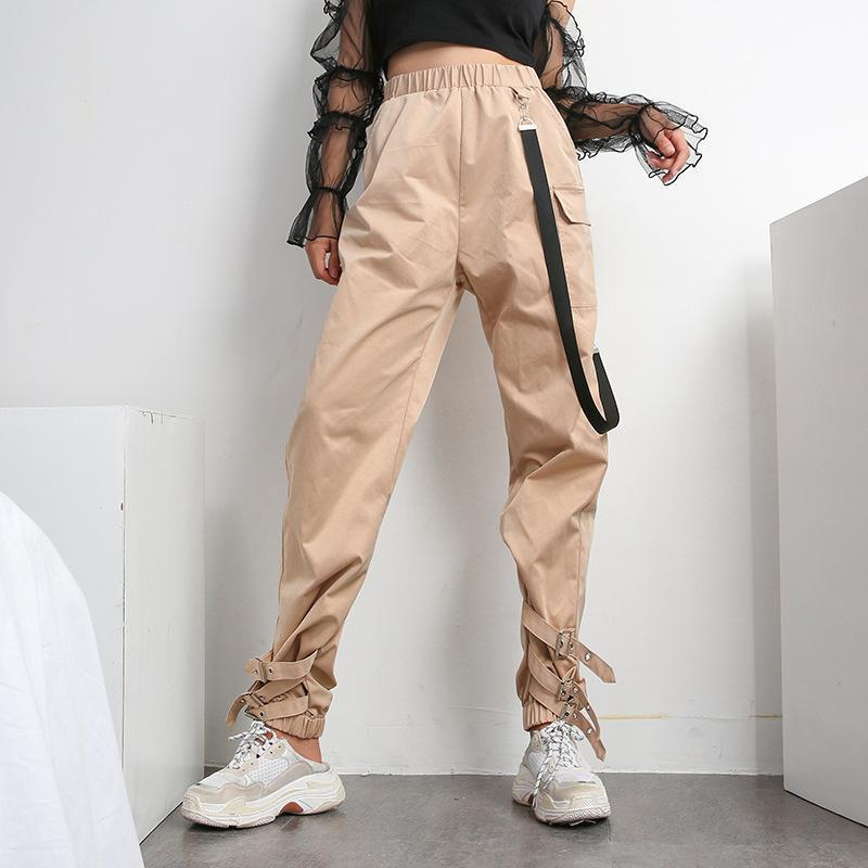 Casual Elastic High Waist Buckles Ribbon Cargo Pants