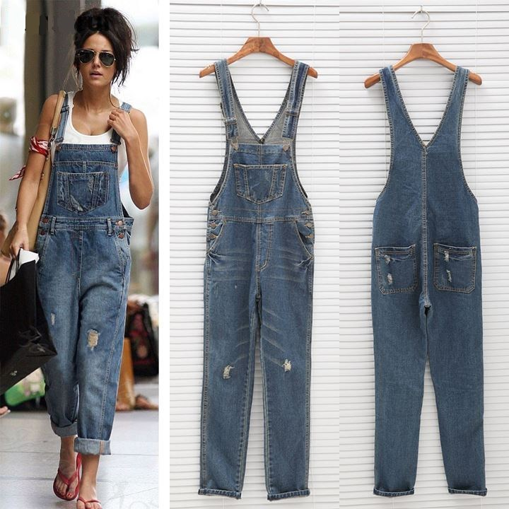 Multi-pocket Distressed Denim Jumpsuits Dungaree Overalls