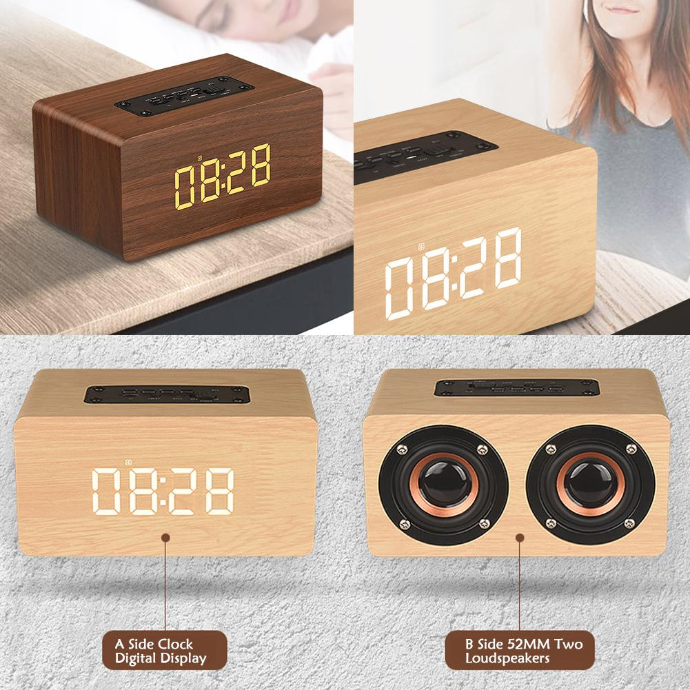 Portable Alarm Clock and Bluetooth Speaker in wood finish
