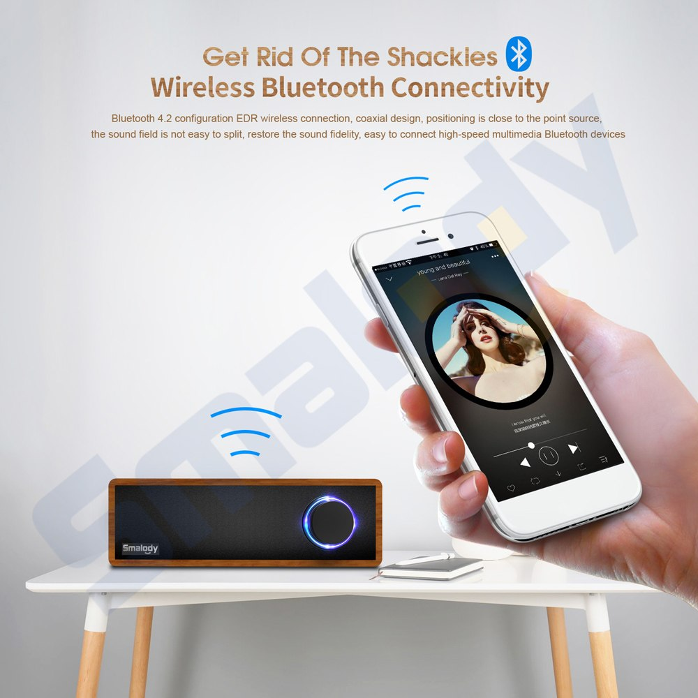 Smalody Wooden Bluetooth Speaker