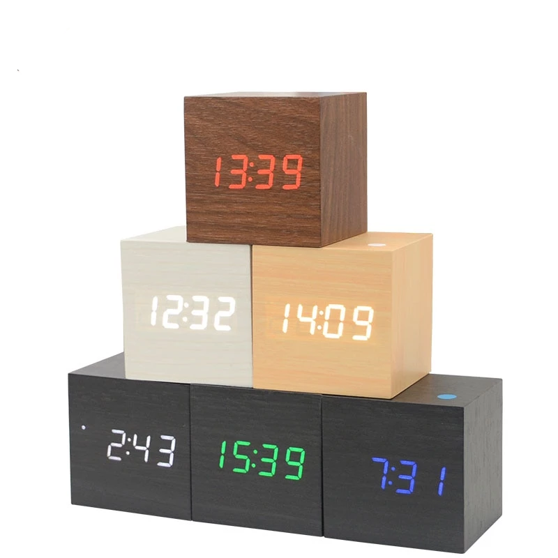 LED Cube Wooden Alarm Clock
