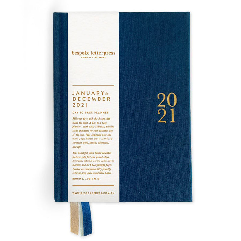 2021 Day to a Page Linen Bound Planner - Navy