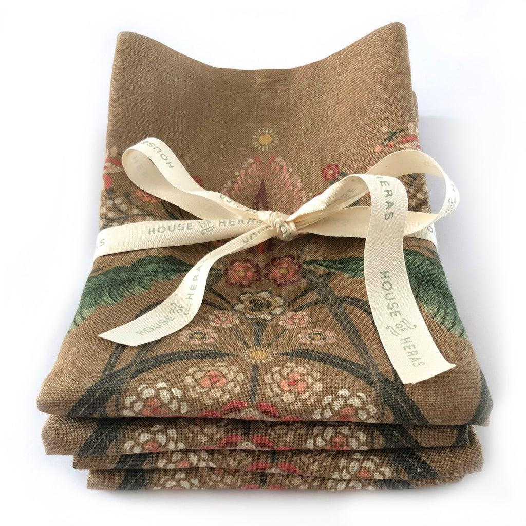 """Bush Bouquet"" Linen Napkins - Gold - SET OF 4"