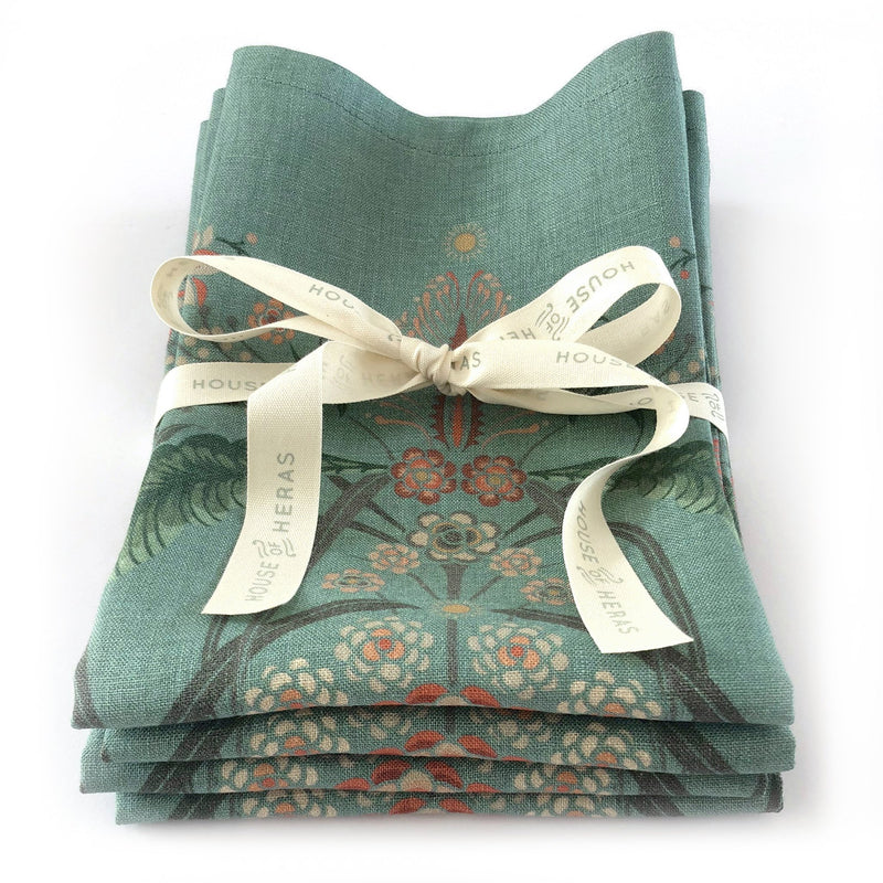 """Bush Bouquet"" Linen Napkins - Teal - SET OF 4"