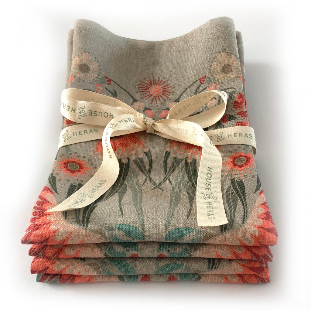 """Gumnut Paradise""  Linen Napkins  -  Wheat  -  SET OF 4"