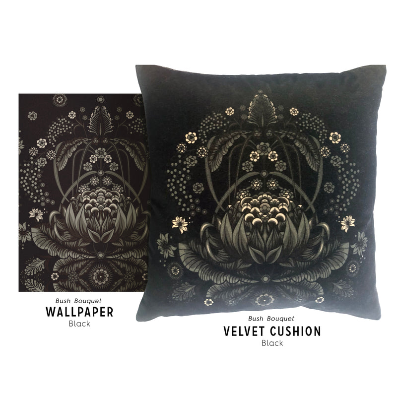 "LIMITED EDITION ""Bush Bouquet"" velvet cushion cover - Black"