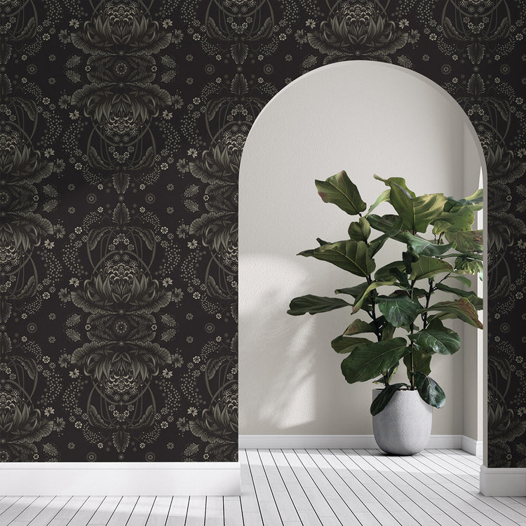 BUSH BOUQUET WALLPAPER - Black