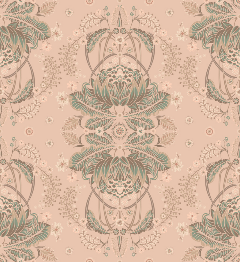 BUSH BOUQUET WALLPAPER - Blush