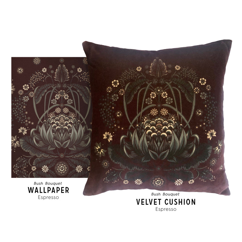 "LIMITED EDITION ""Bush Bouquet"" velvet cushion cover - Espresso"