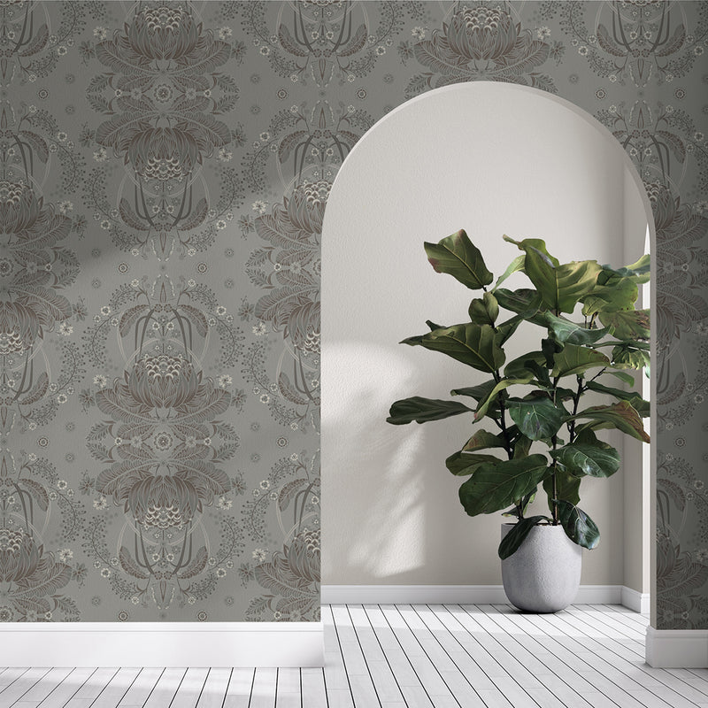BUSH BOUQUET WALLPAPER - Grey