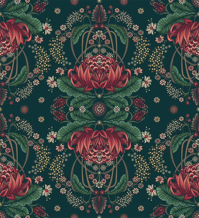 BUSH BOUQUET WALLPAPER - Navy