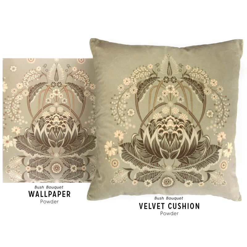 "LIMITED EDITION ""Bush Bouquet"" velvet cushion cover - Powder"