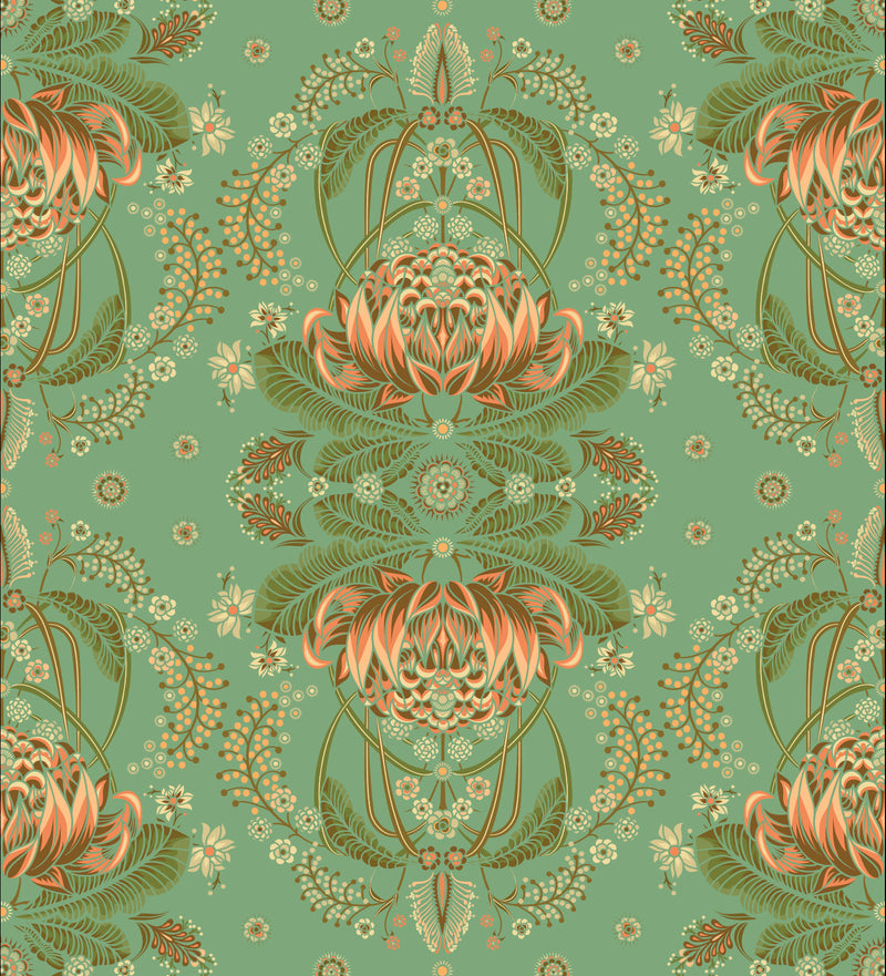 BUSH BOUQUET WALLPAPER - XL - Sea Green