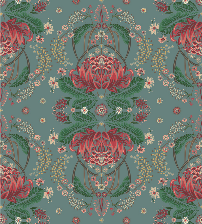 BUSH BOUQUET WALLPAPER - Teal