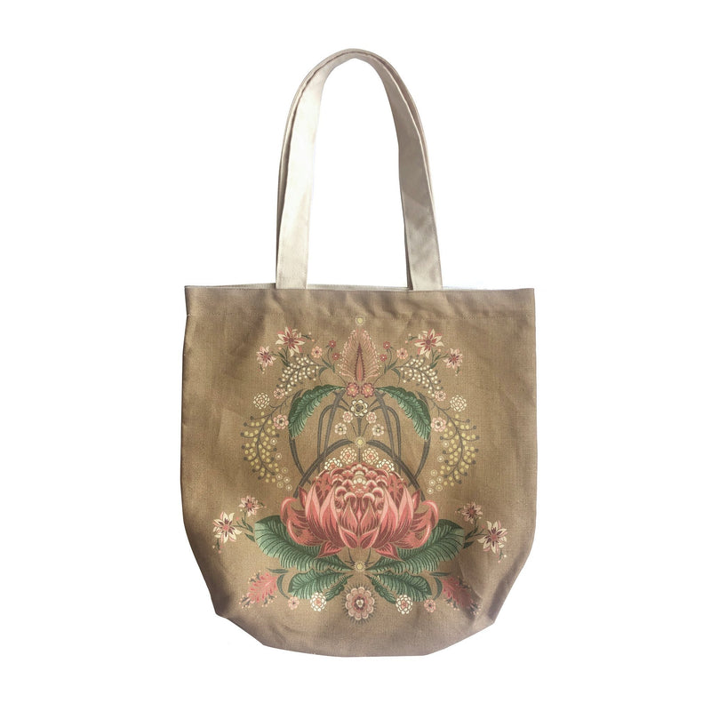 """Bush Bouquet"" Belgian Linen Shopping Bag - Gold"
