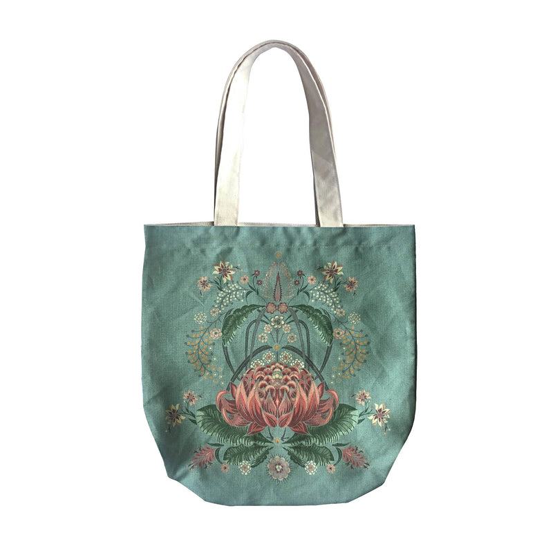 """Bush Bouquet"" Belgian Linen Shopping Bag - Teal"