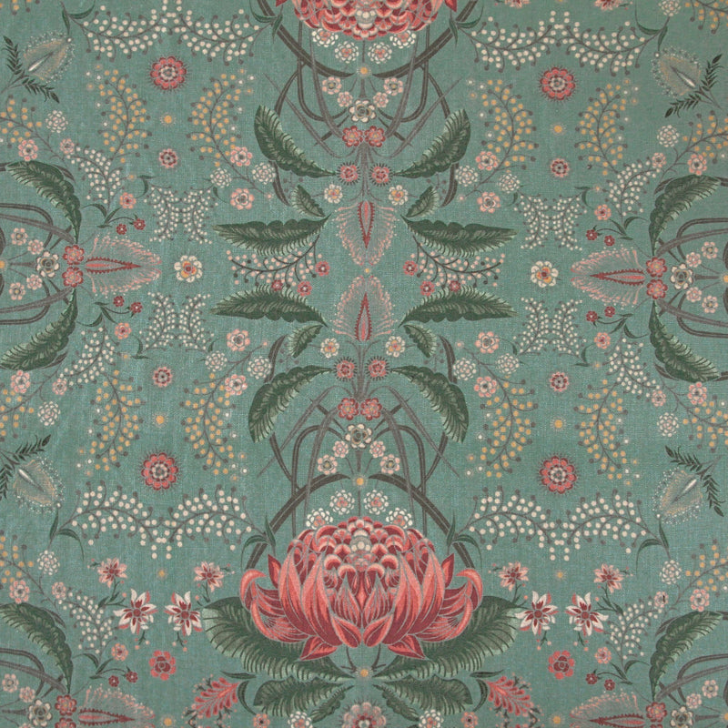 """Bush Bouquet"" Linen Tablecloth - Teal"