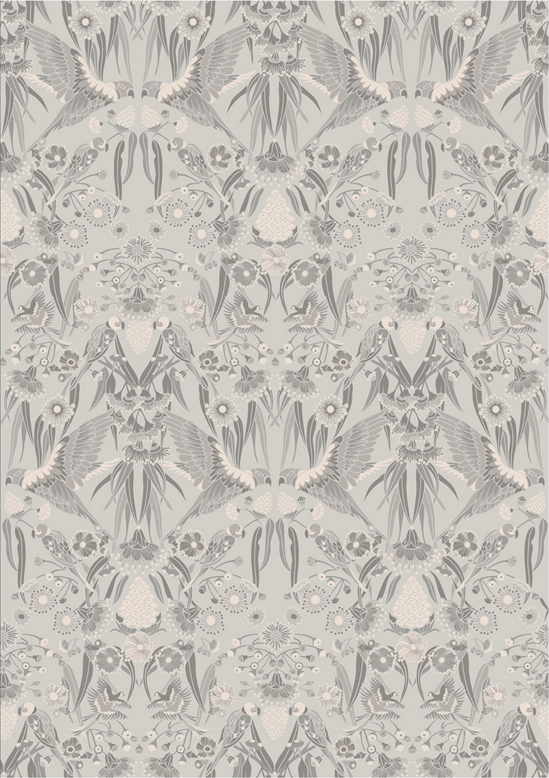 GUMNUT PARADISE WALLPAPER - Grey
