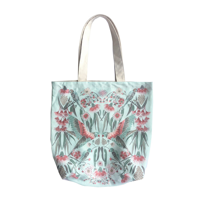 """Gumnut Paradise"" Belgian Linen Shopping Bag - Sky Blue"