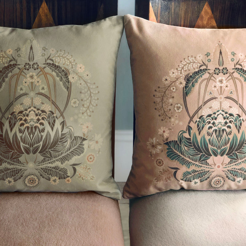 "LIMITED EDITION ""Bush Bouquet"" velvet cushion cover - Blush"