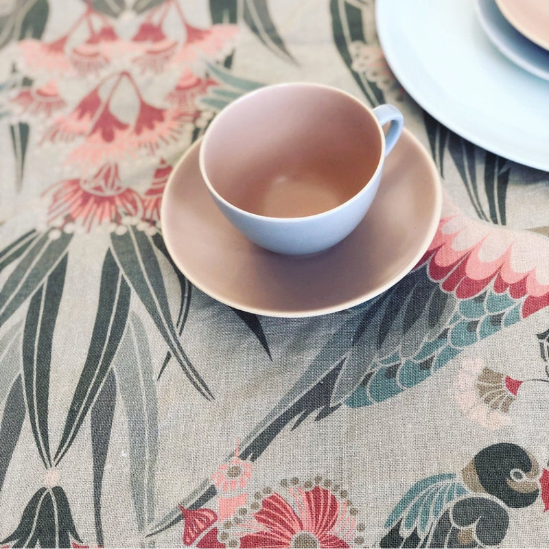 """Gumnut Paradise"" Linen Tablecloth - Wheat"