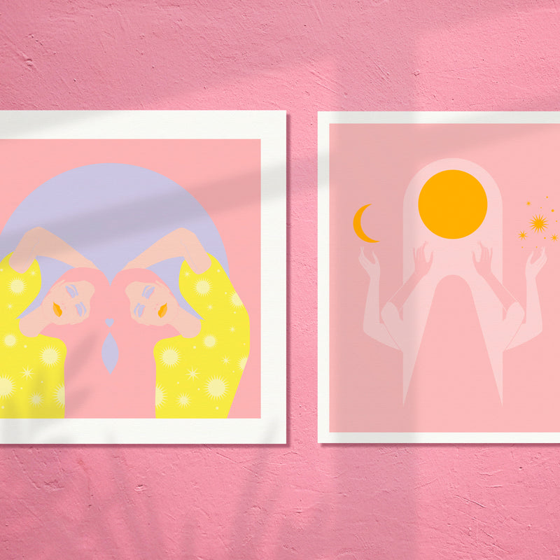 ART PRINT - SUN + MOON SERIES - Gemini Moon by Seek Love Keep