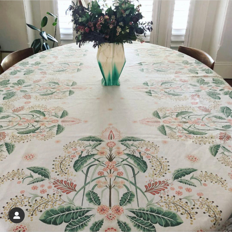 """Wattle Delight"" Linen Tablecloth - Silver"