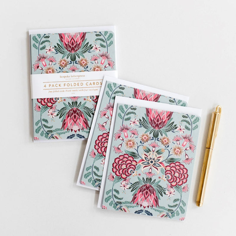 Kaleidoflora Blue 4pk Card Set