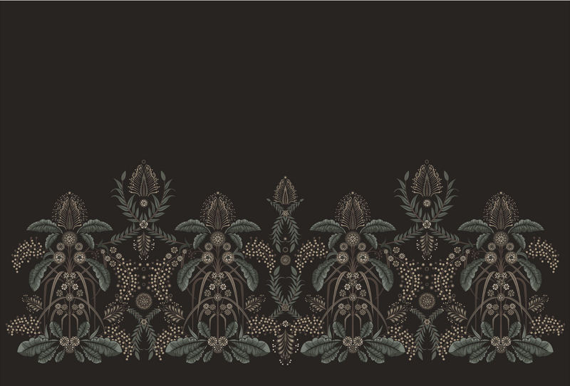 WATTLE DELIGHT MURAL WALLPAPER - Black
