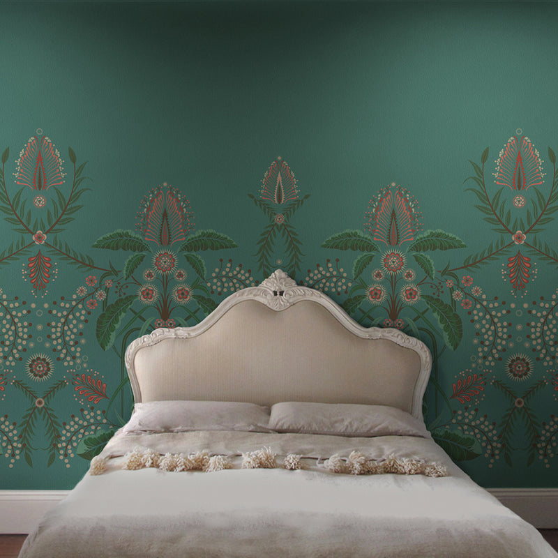 WATTLE DELIGHT MURAL WALLPAPER - Teal