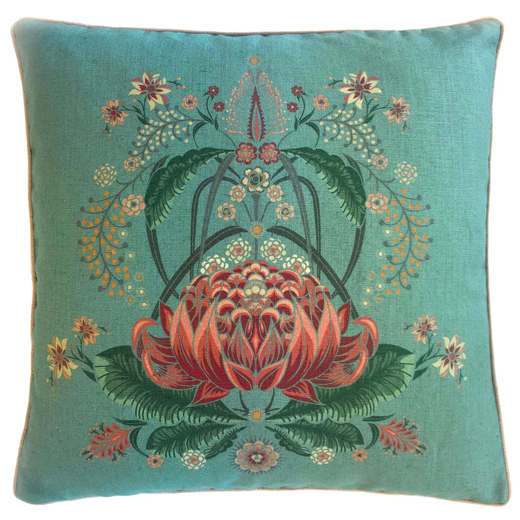 """Bush Bouquet"" Linen/Velvet Cushion Cover - Teal"