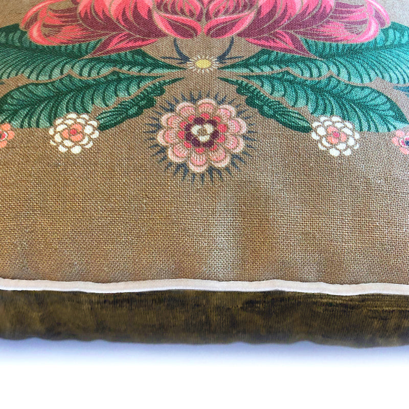 """Bush Bouquet"" Linen/Velvet Cushion Cover - Gold"