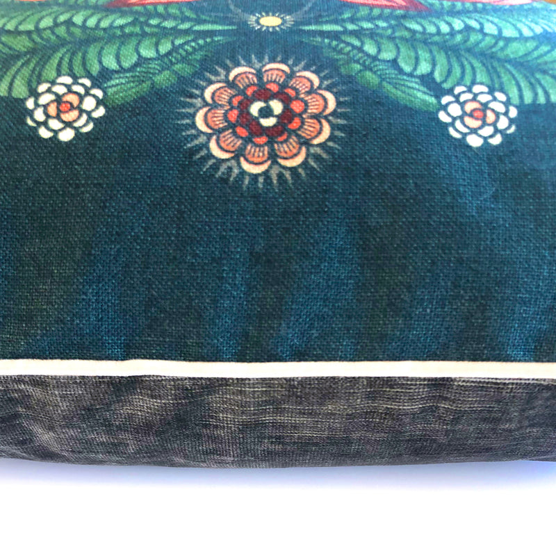 """Bush Bouquet"" Linen/Velvet Cushion Cover - Navy"