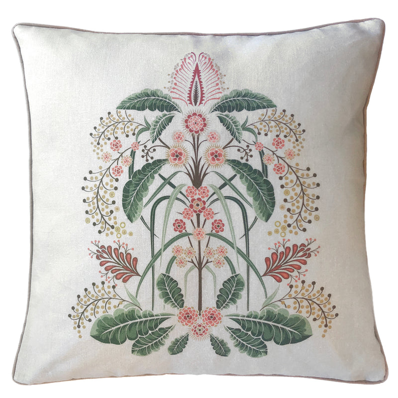 """Wattle Delight"" Linen 50cm Cushion Cover - Silver"