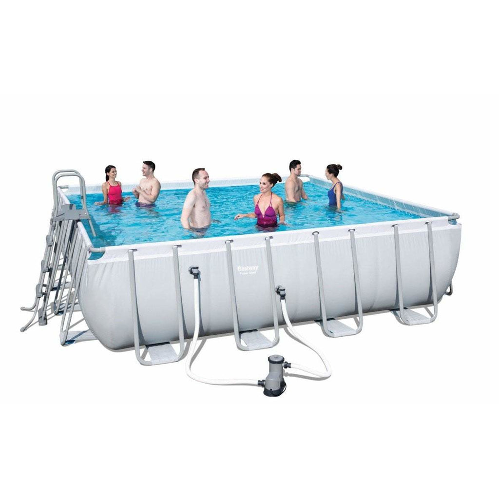 "Bestway 16' x 16' x 48""/4.88m x 4.88m x 1.22m Power Steel Square Frame Pool Set - rafplay"