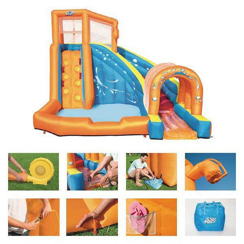 Bestway Inflatable Tunnel blaster water park with double slide fun By H20GO