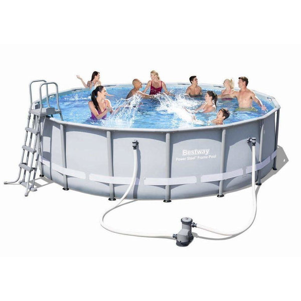 "Bestway 16' x 48""/4.88m x 1.22m Power Steel Frame Pool Set - rafplay"