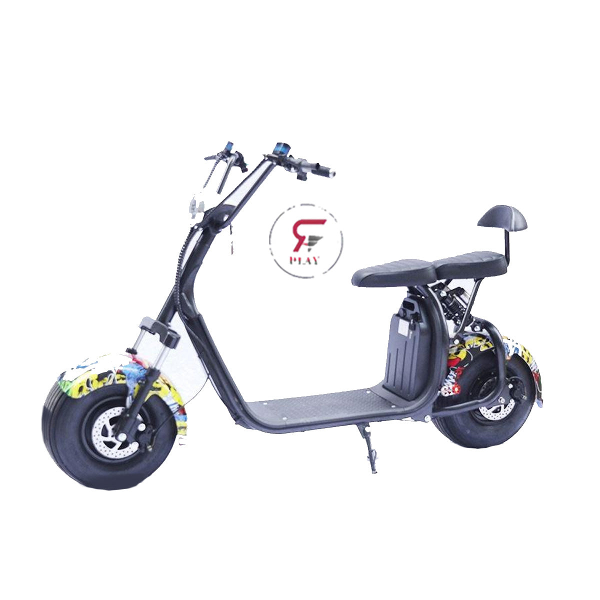 COCO HARLEY STATION SCOOTER WITH 60 V  REMOVABLE BATTERY - GRAFFITI - Rafplay