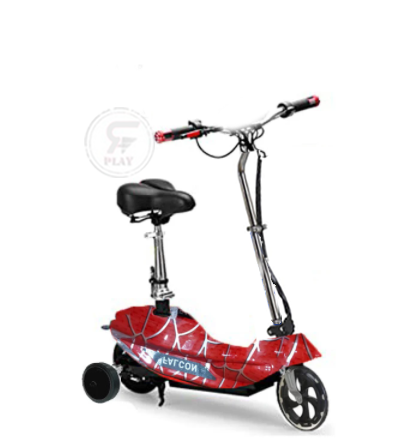 Red color Zippy Electric Foldable Scooter with training wheels | Kids Electric Scooter