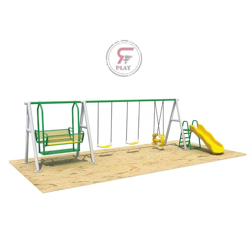 Raf Mini Amusement  Playpark  metal playset with dual swings and slides, & Swinger